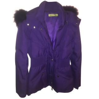 Versace Jeans Purple Coat with Fur Hood