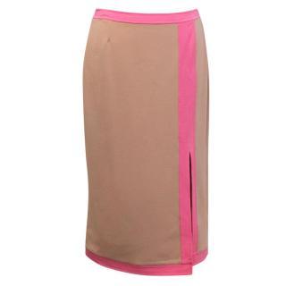 Michael Kors Tan and Pink Midi Skirt