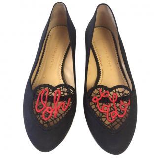 Charlotte Olympia Ooh La La Black Slippers