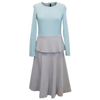 Roland Mouret Light Blue and Grey A-line Dress