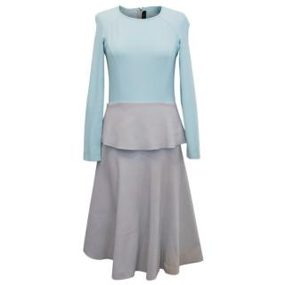 Roland Mouret Light Blue and Grey A-line Dress