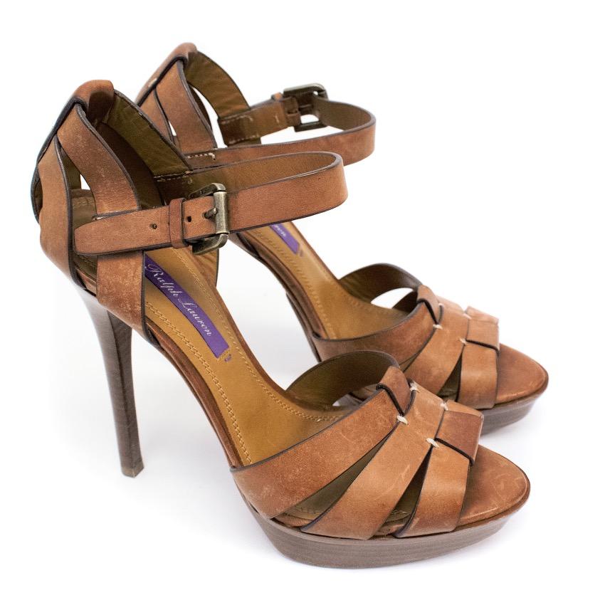 Ralph Lauren Tan Leather High Heel
