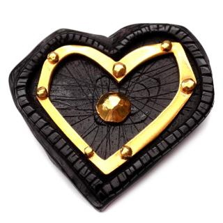 Christian Lacroix Vintage Heart Shape Black and Gold Metal Brooch.