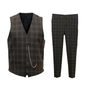 The Kooples Men's Brown Check Waistcoat and Trousers