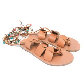 Ancient Greek Tan Embellished Gladiator Sandals