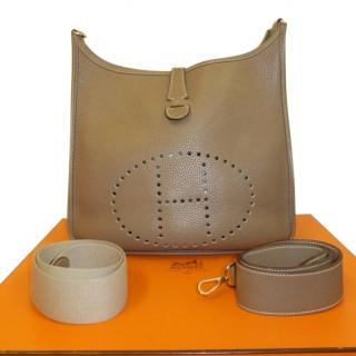 Hermes Etoupe Clemence Leather Evelyne GM Bag