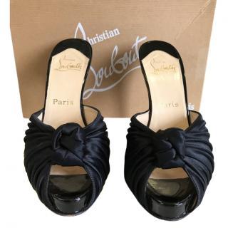 Christian Louboutin silk slip on evening heels