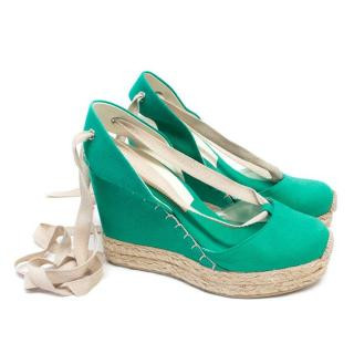 Ralph Lauren Collection Green Canvas and Rope Wedges