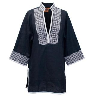 Tory Burch Navy Embroidered Beach Tunic