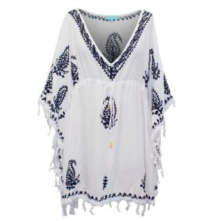 Melissa Obadash White Beach Cover-Up with Black Embroidery