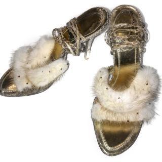 Rene Caovilla fur sandals