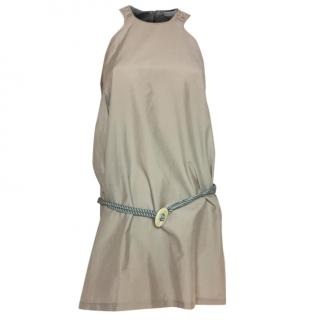 Brunello Cucinelli beige cotton & silk short belted dress