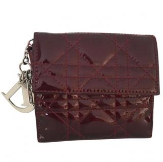 Miss Dior Eden cannage wine Patent leather wallet