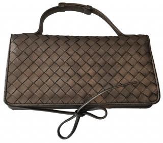 Bottega Veneta Metallic Leather Clutch Bag
