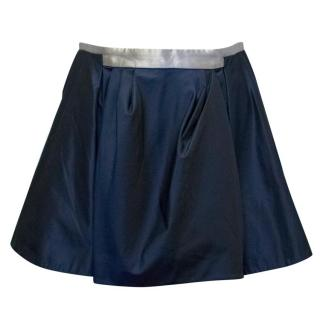 Balenciaga Navy Mini Skirt with Silver Trim