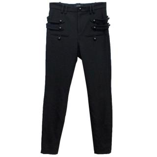 Isabel Marant Black Wool Blend Trousers with Button Detail