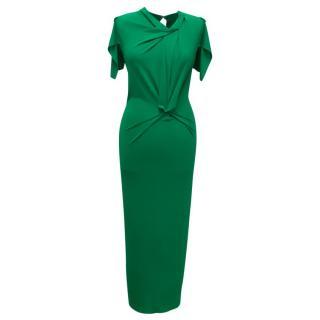 Roland Mouret Green Ruched Midi Dress