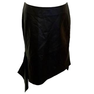 Reed Krakoff Black Leather Skirt with Asymmetric Hem