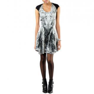 Helmut Lang Black & Grey Heathen Print Dress