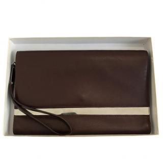 Maison Martin Margiela Burgundy Mirrored Leather Cutch Bag