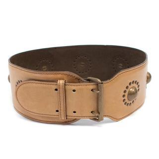 Alaia Light Brown Embellished Belt