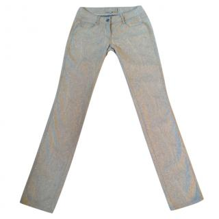 Etro beige slim jeans with pale yellow paisley print design