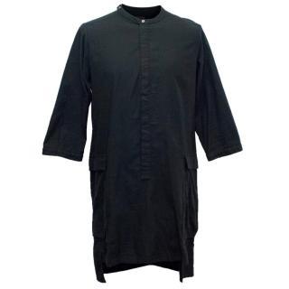 Siki Im Men's Long Black Shirt with 3/4 Length Sleeves