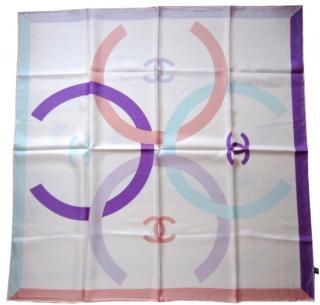 Chanel pastel silk scarf