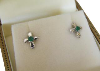 9 carat white gold & emerald cross earrings