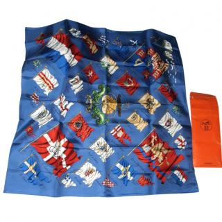Hermes Silk Twill Pavois Flags Scarf