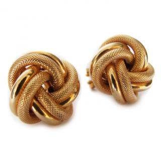 9 carat yellow gold large knot earrings