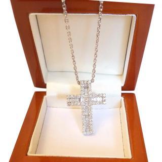 Baguette & Round Diamond Cross Pendant 18ct Gold