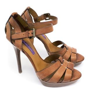 Ralph Lauren Tan Leather High Heel Sandals