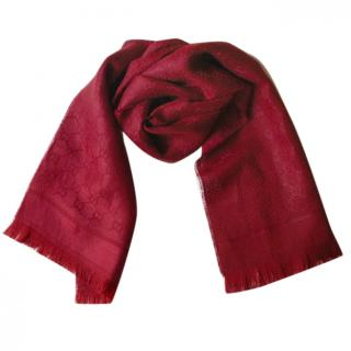 Gucci burgundy wool mix Scarf