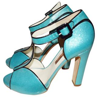 Rupert Sanderson metallic peep toe heels