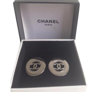 Chanel vintage silver plated clip earrings