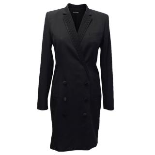 The Kooples Black Blazer Dress With Embroidered Collar
