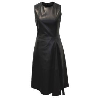 The Row Black Lambskin Dress