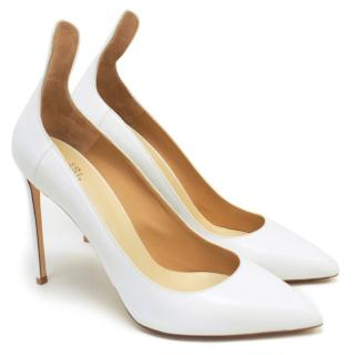Francesco Russo White Leather Pump Heels