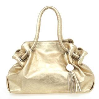 Furla Gold Metallic Leather Carmen Shopper Tote