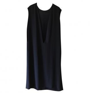 Hermes dark navy blue silk slip over dress