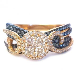 Le Vian Blue & White Diamond Cluster Ring 18ct Gold