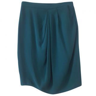 gucci emerald silk skirt