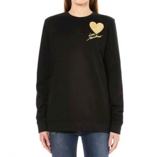 Moschino Black With Gold Heart Sweatshirt
