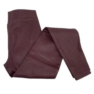 Victoria Beckham Oxblood Leather Trousers