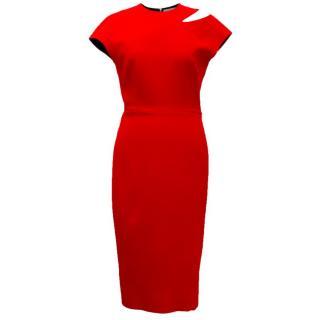 Victoria Beckham Red Tailored Pencil Dress