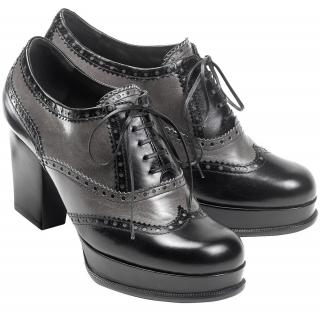 YSL Black & Charcoal Grey Leather Lace up Platform round toe shoes