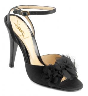 YSL Black Satin Peep toe Sandals with crossover anklestraps