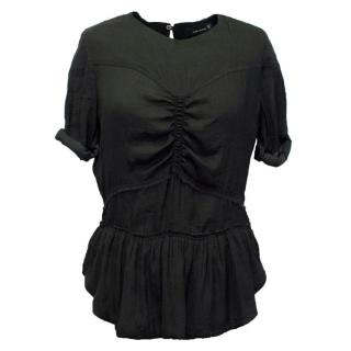 Isabel Marant Black Top with Ruffled Hem