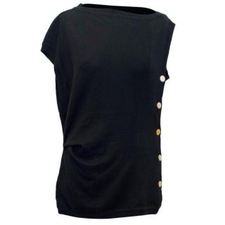 Givenchy Black Fine Knitted Sleeveless Jumper with Gold Buttons